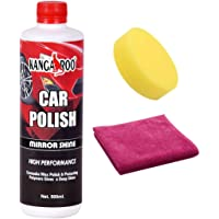 Kangaroo Car Wax Polish - Mirror Shine (Rich Carnauba) 500 ML + Micro Fibre Cloth + FOAM APPLICATOR