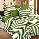Story@Home Single Bedsheet for Single Bed with 1 Pillow Cover Combo Set - 100% Cotton - Spark Series, 208 TC, Stripes (Green - White)
