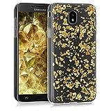 kwmobile Hülle für Samsung Galaxy J7 (2017) DUOS - TPU Silikon Backcover Case Handy Schutzhülle - Cover klar Flocken Design Gold Transparent