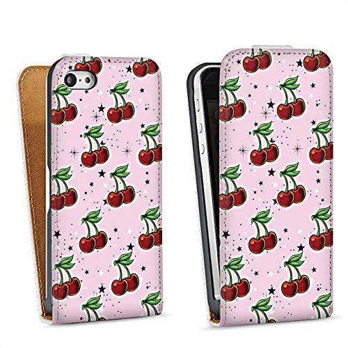 Apple iPhone 4 Housse Étui Silicone Coque Protection Cerises Motif Motif Sac Downflip blanc
