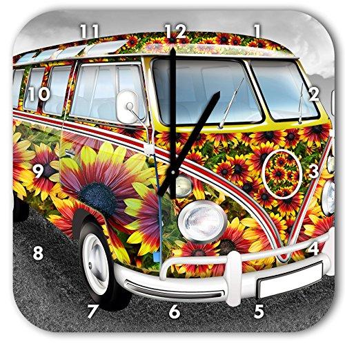 Flower Power Hippie VW Bus schwarz/weiß, Wanduhr Quadratisch Durchmesser 28cm mit schwarzen spitzen Zeigern und Ziffernblatt, Dekoartikel, Designuhr, Aluverbund sehr schön für Wohnzimmer, Kinderzimmer, Arbeitszimmer Vw Bus Uhr