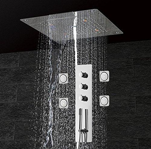 WEITING Massage Duschpaneel-Wand zu Hause Thermostat-Brausebatterie montiert mit Led Decke Duschkopf Regen Wasserfall Blase Dusche