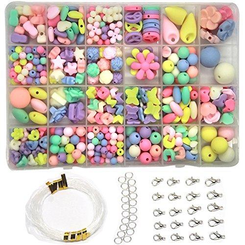 Ewparts 24 Perline Fai da Te bigiotteria Perlina perlineel Perlina Artistica per Bambini (Primavera abbronzata Colorata)