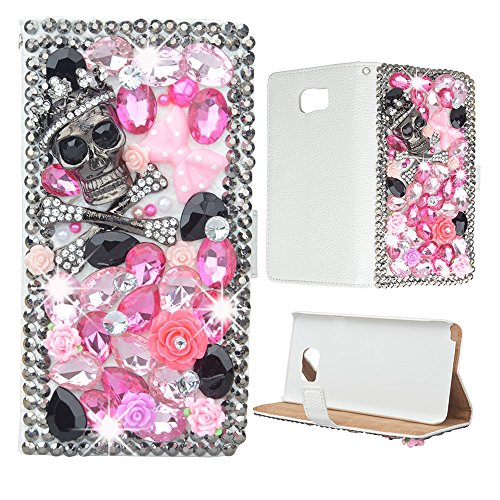evtechtm-skull-rhinestone-bling-crystal-glitter-book-style-folio-pu-leather-wallet-case-with-handbag