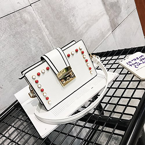 Sprnb La Nuova Tendenza Di Svago Tutto-Match Molla Quarto Sacchetto Unghie Colore Tracolla Singola Crossbody Borsa Piccola,Bianco White