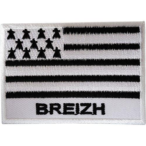Breizh-Flagge Patch Eisen mit Stickerei Bretagne Frankreich-Breton Bretagne