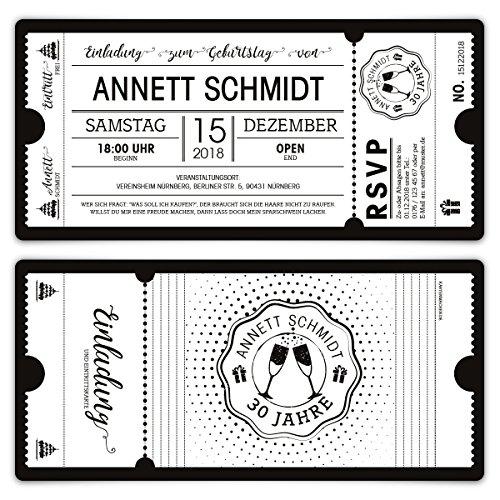 60 x Geburtstag Einladungen Einladungskarten Eintrittskarten - Schwarz-Weiß Ticket weiße Version