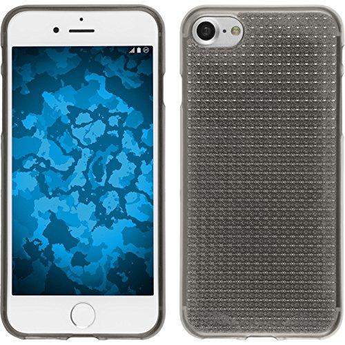 PhoneNatic Case für Apple iPhone 8 Hülle Silikon clear Iced Cover iPhone 8 Tasche + 2 Schutzfolien Grau