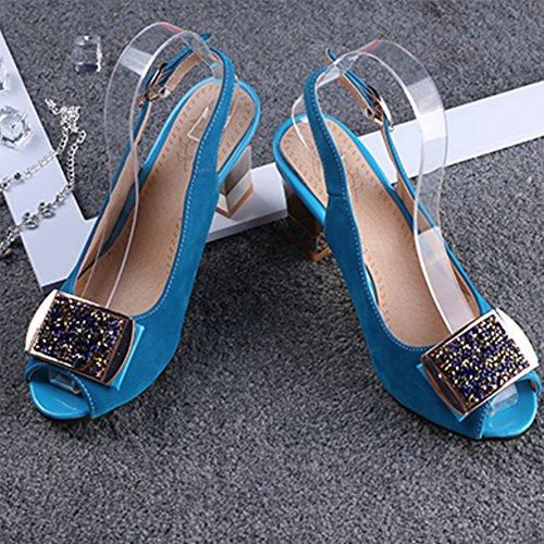 TAOFFEN Femme Elegant Peep Toe Slingback Bloc Sandales Bleu