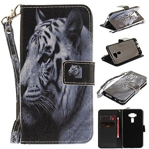 Coque ASUS Zenfone 3 ZE520KL,Ecoway étui en cuir PU motif peints cas de téléphone fonction de support pliable Cartes de Crédit Slot et Sangle détachable à main( white tiger)