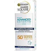 Garnier Ambre Solaire UV Fluido Viso Extra Leggero Advanced Sensitive, SPF 50+, Protezione Molto Alta, Arricchito con…
