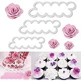 WADY 3 tamaños diferentes de rosas cortadores DIY fondant Moldes decoración Cookies Fondant Pastel Sugarcraft Moldes Bloque H