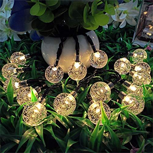 DESESHENME Luz Solar Cuerda Burbuja Bola Linterna Vacaciones navideñas Al Aire Libre Impermeable Cuerda Ligera 7m 50 Luces, Blanco cálido