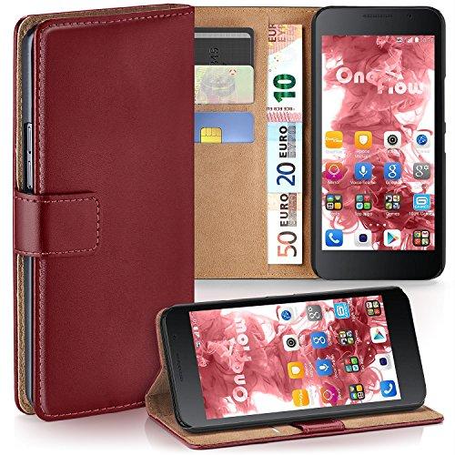 moex Huawei Honor 6 | Hülle Dunkel-Rot mit Karten-Fach 360° Book Klapp-Hülle Handytasche Kunst-Leder Handyhülle für Honor 6 Case Flip Cover Schutzhülle Tasche