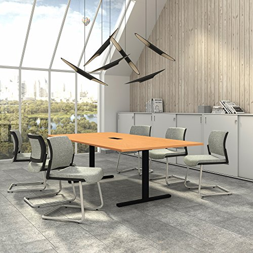 Weber Büro EASY Konferenztisch 240x120 cm Buche mit ELEKTRIFIZIERUNG Besprechungstisch Tisch, Gestellfarbe:Schwarz