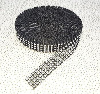 9 Yards Diamante Effect, Rhinestone Effect Mesh Ribbon Trimming Bridal Craft, 4rows... Mnj-trimmings (Black & Silver) 0