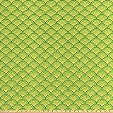 ABAKUHAUS Grün Satin Stoff als Meterware, Japanische