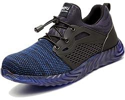 Safety Shoes Mens Work Trainers Ladies Running Construction Boots Women Steel Toe Cap Lightweight Mesh Footwear Black Blue Gr