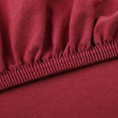 CelinaTex Lucina Spannbettlaken 180×200 – 200×200 bordeaux rot Jersey Baumwolle Spannbetttuch Doppelbett Matratzen 0002807 - 3