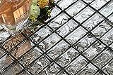 10cm x 10cm Muster. Glas Mosaik Fliesen Muster in Grau Texturiert Lava Baustein Effekt (MT0121 Muster)