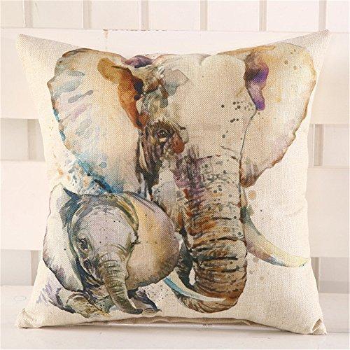Y & M 45cm elefantes patrón de cojín, lino funda de almohada...