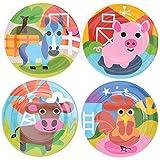 Farm : French Bull - BPA Free Kid's Dinner Set - 8-Inch Melamine Kids Plate Set - Farm, Set Of 4