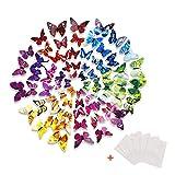 HTINAC Mariposa 3D 72 Piezas Pegatinas Mariposas Pared con Imán y Adhesivo Mariposas Adhesivas para Decorar Hogar Dormitorio Espacio Creativo Fiesta (6 Colors)