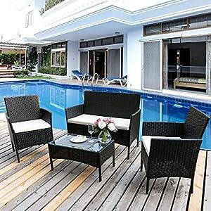 Merax Rattan Set Polyrattan Outdoor Loungeset Gartenset Gartenmöbel Sitzgruppe Gartentisch 4-teiliges Lounge Set Balkon Möbel Set Garten Möbel Ecklounge 1 Loveseat + 2 Sessel + 1 Tisch (Schwarz)