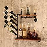 BOBE SHOP- LOFT Retro scaffalatura per tubi in stile industriale, mensola in legno massiccio, mensole a sospensione, ristorante creativo da bar, set da 75 * 75 * 20cm