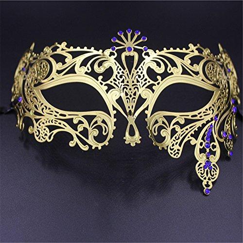 MaskKing Diamant-Masken-Halbe Gesichts-Make-upmaskerade-venetianische Maske Halloween-Metallmaske Weiblich, 11 (Holz Elf Kostüm Weiblich)