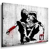 Banksy Kunst auf Leinwand Bild 100x70cm k. Poster ! Bild fertig auf Keilrahmen ! Pop Art Gemälde Kunstdrucke, Wandbilder, Bilder zur Dekoration - Deko / Top 100