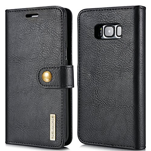 FLY Samsung Galaxy S8 Plus Leather Wallet Phone Case Magnetic Back Case Protective Flip Cover with Card Slots Black