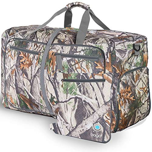 """Bago Duffle Bag For Travel Luggage Gym Sport Camping – Lightweight Foldable Into Itself Duffel 22"""" (Large 27"""", Camo)"""