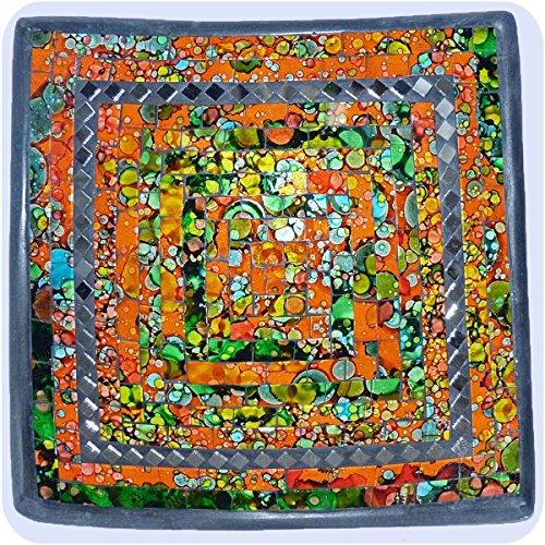 Simandra Mosaikschale Tonschale Glasschale Dekoschale Mosaik Kunsthandwerk Glassteine Deko Quadrat Spiegel klein Color Orange -