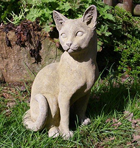 Steinfigur Katze Mieze schlafend Deko Garten Tier Figur Gartenfiguren Skulptur