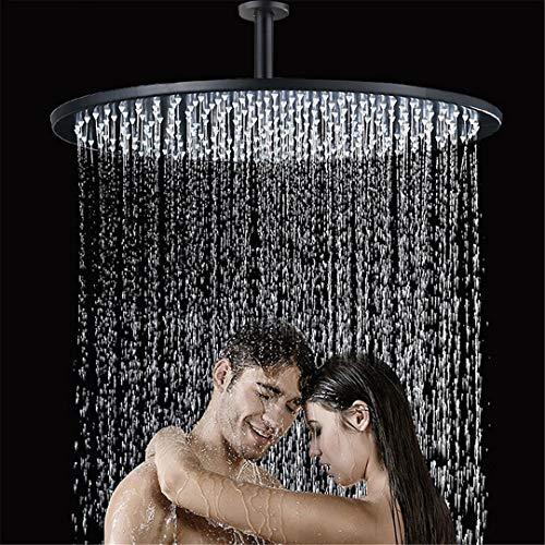 HS-Showen Deckenmontiertes Badezimmer 16-Zoll-Duschkopf Schwarz Runde Badewanne Dusche Wasserhahn Kopf Mit Dusche Arm Badezimmer Zubehör