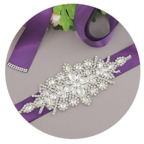 TOPQUEEN Frauen-Kristall-Hochzeit-Gürtel Schärpen für Hochzeitskleid Braut Schärpe Riemen (Lila)
