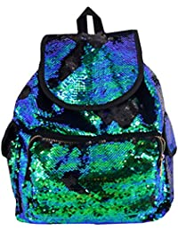 Aisa Women Fashion Sequin Sports Backpack Blue Green Glitter Casual Traval Shoulder Bag Girl School Bag