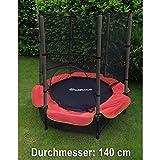 Outdoor Garten Fitness Trampolin 140 CM Komplett mit Sicherheitsnetz rot