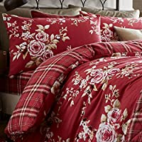 Catherine Lansfield Canterbury Brushed Check Housewife Pillowcase Pair, Dark Red