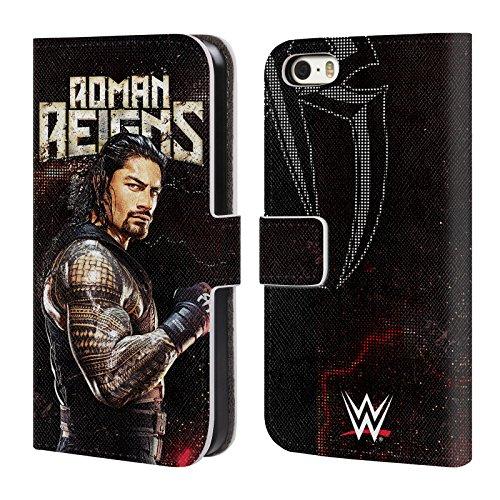 Head Case Designs Offizielle WWE Roman Reigns Superstars Leder Brieftaschen Huelle kompatibel mit iPhone 5 iPhone 5s iPhone SE (Wwe Iphone 5s)