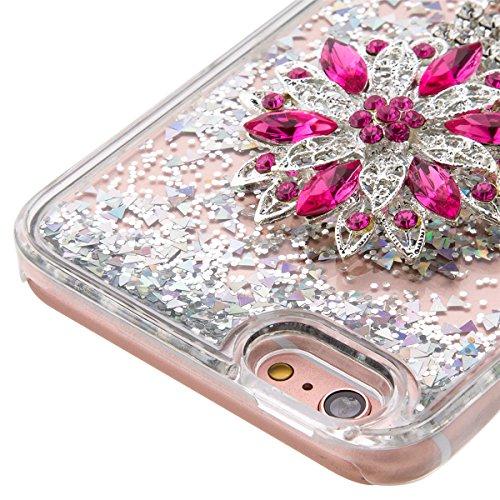 iPhone 6S Plus Hülle, iPhone 6 Plus Hülle, Gift_Source [ Gold & Engel Krone ] Schutzhülle harte plastik Schutz Handy Hülle Case, Creative 3D strom flüssiger durchdrungen von glitzer und sterne Hülle C E1-Silber & Lotus