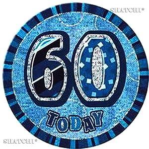 Gifts 4 All Occasions Limited SHATCHI-692 - Insignia de 60 cumpleaños, diseño de 60 cumpleaños, color azul