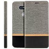 Zanasta Designs Tasche LG G5 Hülle Flip Case Schutzhülle Handytasche mit Kartenfach Grau