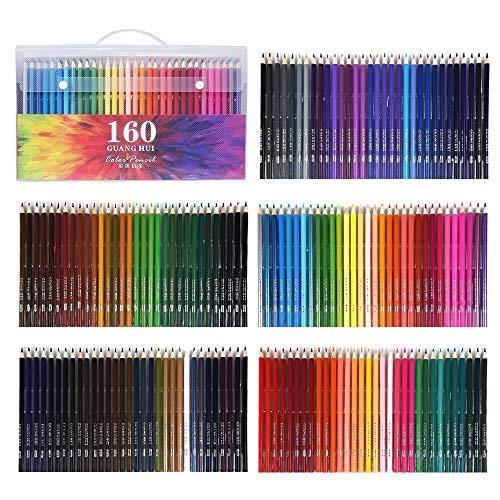 WCOCOW 120/160 lápices de colores, estuche de lápices de colores para colorear para adultos Libros, artistas y dibujantes (PET package of 160)