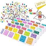 SPECOOL 36 Colori Craft Finger tampone di Inchiostro, Impronte digitali Inkpad atossici per Gomma Artistica Artigianale timbri di Arcobaleno tampone di Inchiostro per Le Dita