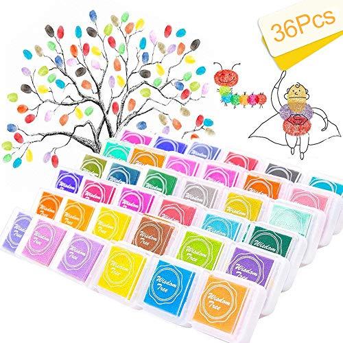 Almohadilla de tinta de dedo para manualidades de 36 colores, no tóxica