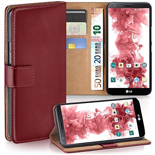 moex LG G2 | Hülle Dunkel-Rot mit Karten-Fach 360° Book Klapp-Hülle Handytasche Kunst-Leder Handyhülle für LG G2 Case Flip Cover Schutzhülle Tasche