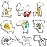 Bluelves Emporte-Pièce Animale, 9 Pièces Animale Emporte Piece Patisserie, Acier Inoxydable Cookie Cutter Set, Animale Moules