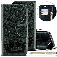 Herbests Handytasche für Samsung Galaxy J5 2017 Lederhülle Niedlich 3D Panda Muster Flip Case Cover Hülle Leder Klapphülle Leder Tasche im Bookstyle Handyhülle Brieftasche Schutzhülle,Dunkelgrün